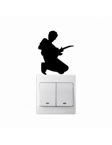 Guitar Player Man Vinyl Light Switch Wall Sticker Creative Silhouette Home Decal